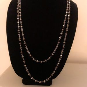 Long Beaded Gunmetal Necklace